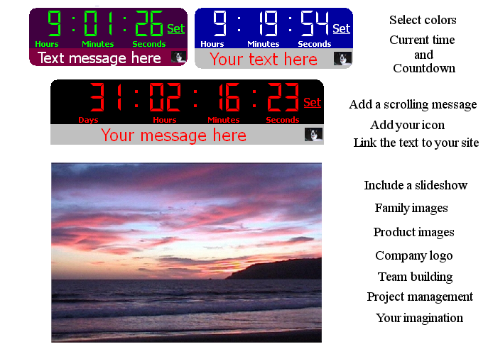 Digital Web Server Countdown Clock ScreenSaver